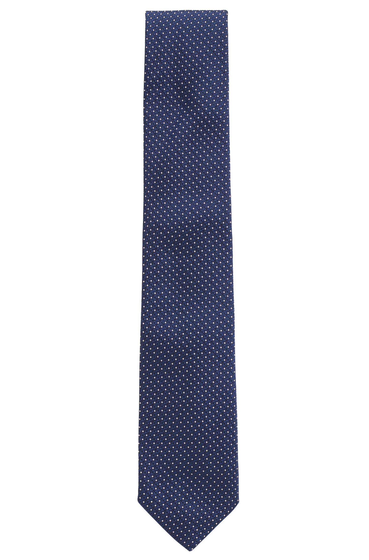 Cravate en jacquard de soie à micropois, Bleu foncé