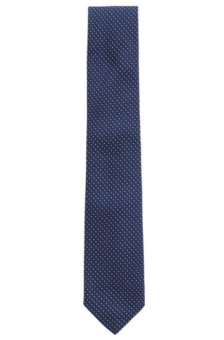 Stropdas in een jacquard van zijde met microstippen, Donkerblauw