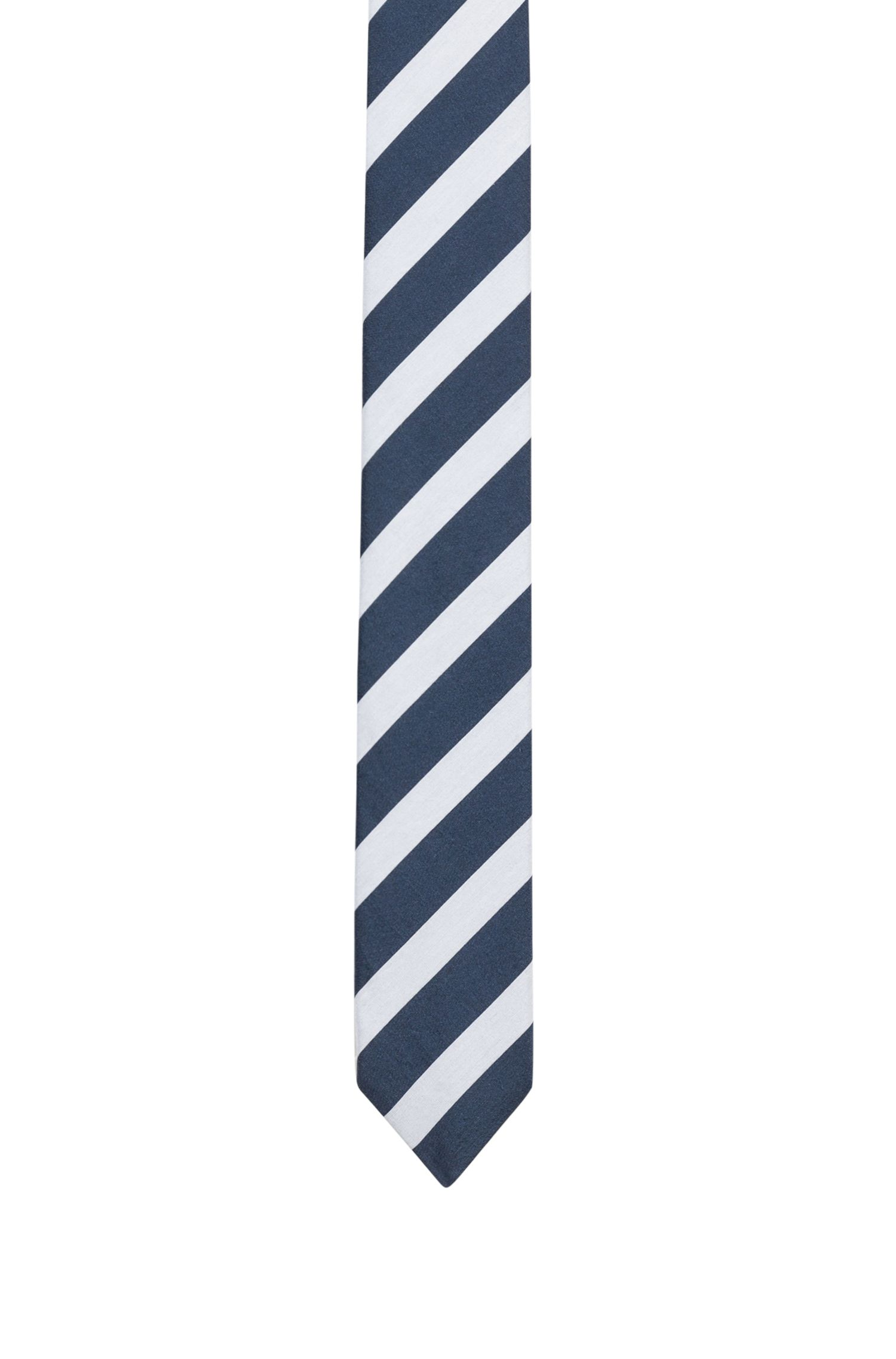 Diagonal-striped tie in a cotton blend with silk, Patterned