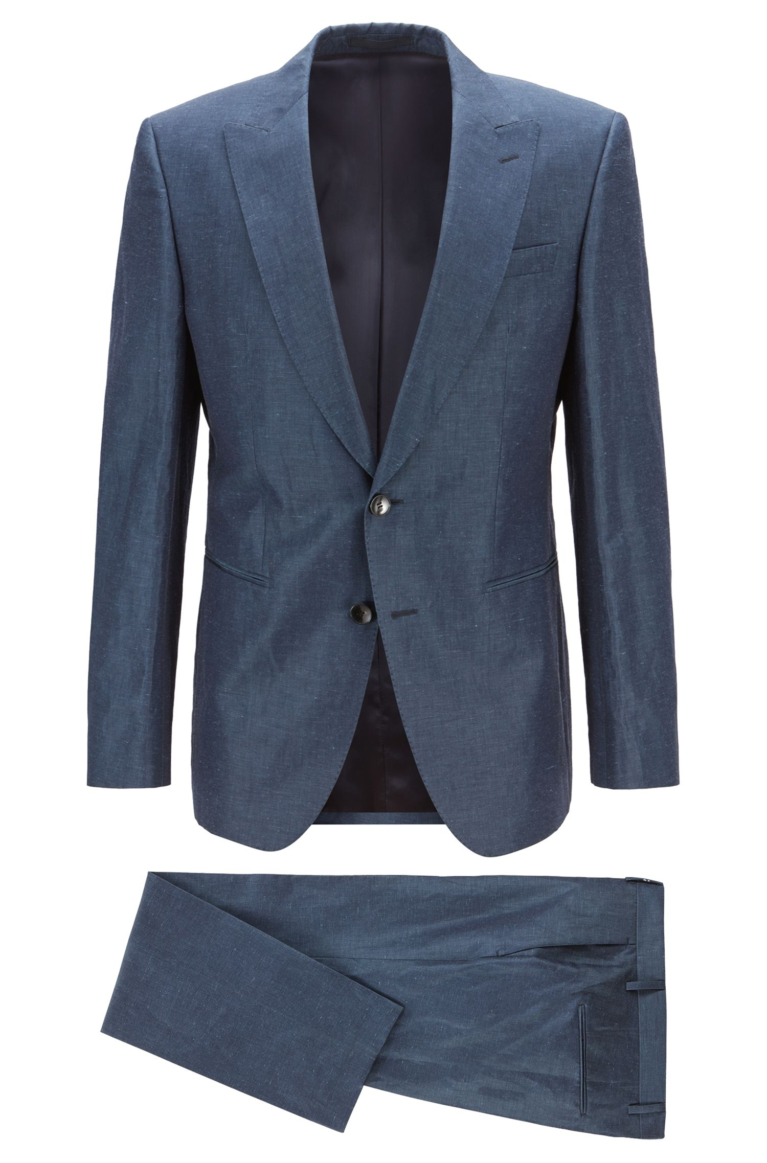 Italian-made slim-fit suit in a linen blend, Open Blue