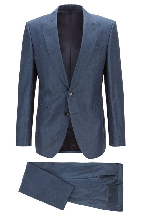 Costume Slim Fit confectionné en Italie, en lin mélangé, Bleu vif