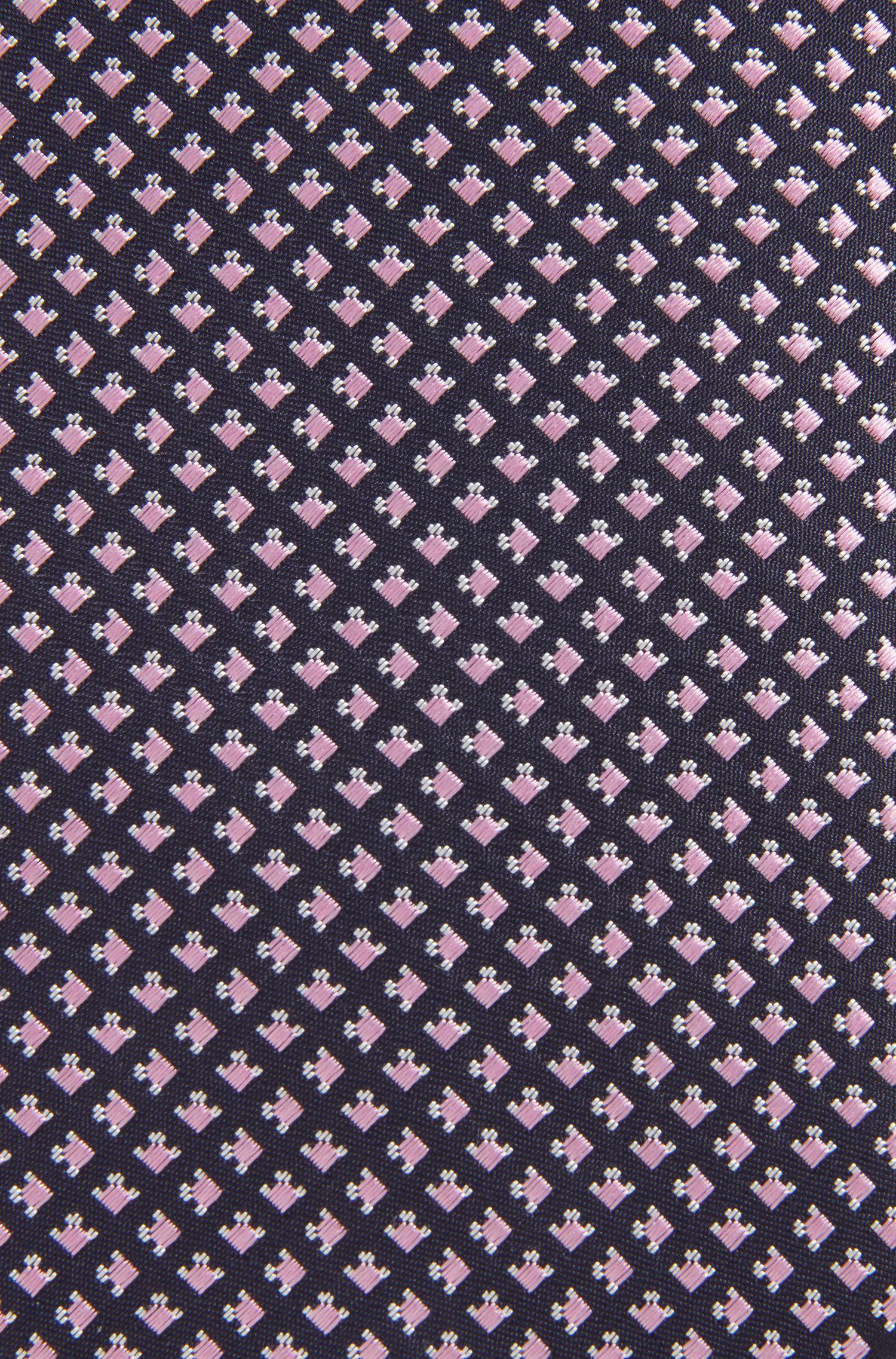 In Italien gefertigte Seidenkrawatte mit geometrischem Muster, Dunkelblau