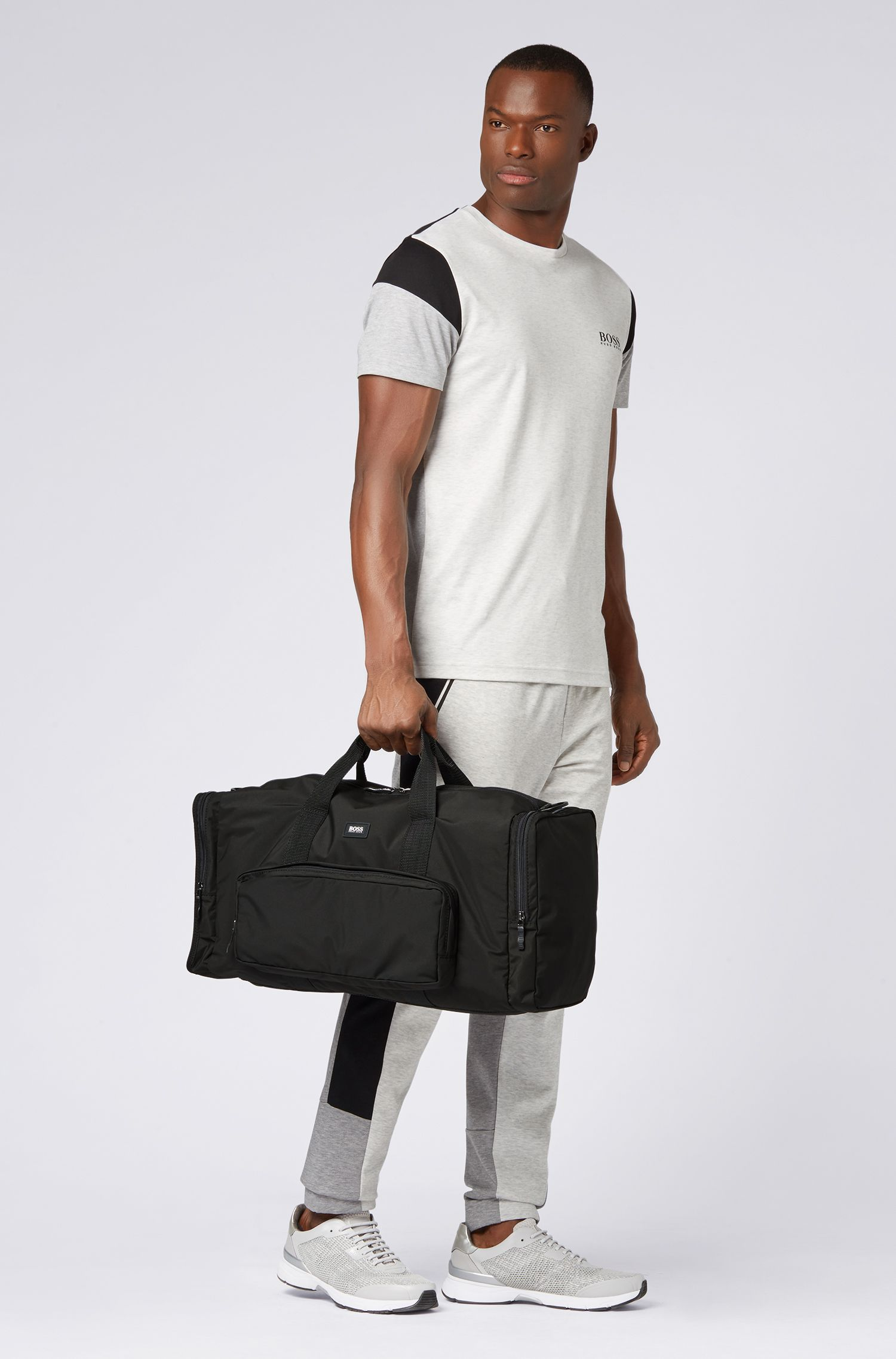 Packable holdall in recycled and responsibly sourced fabric, Black