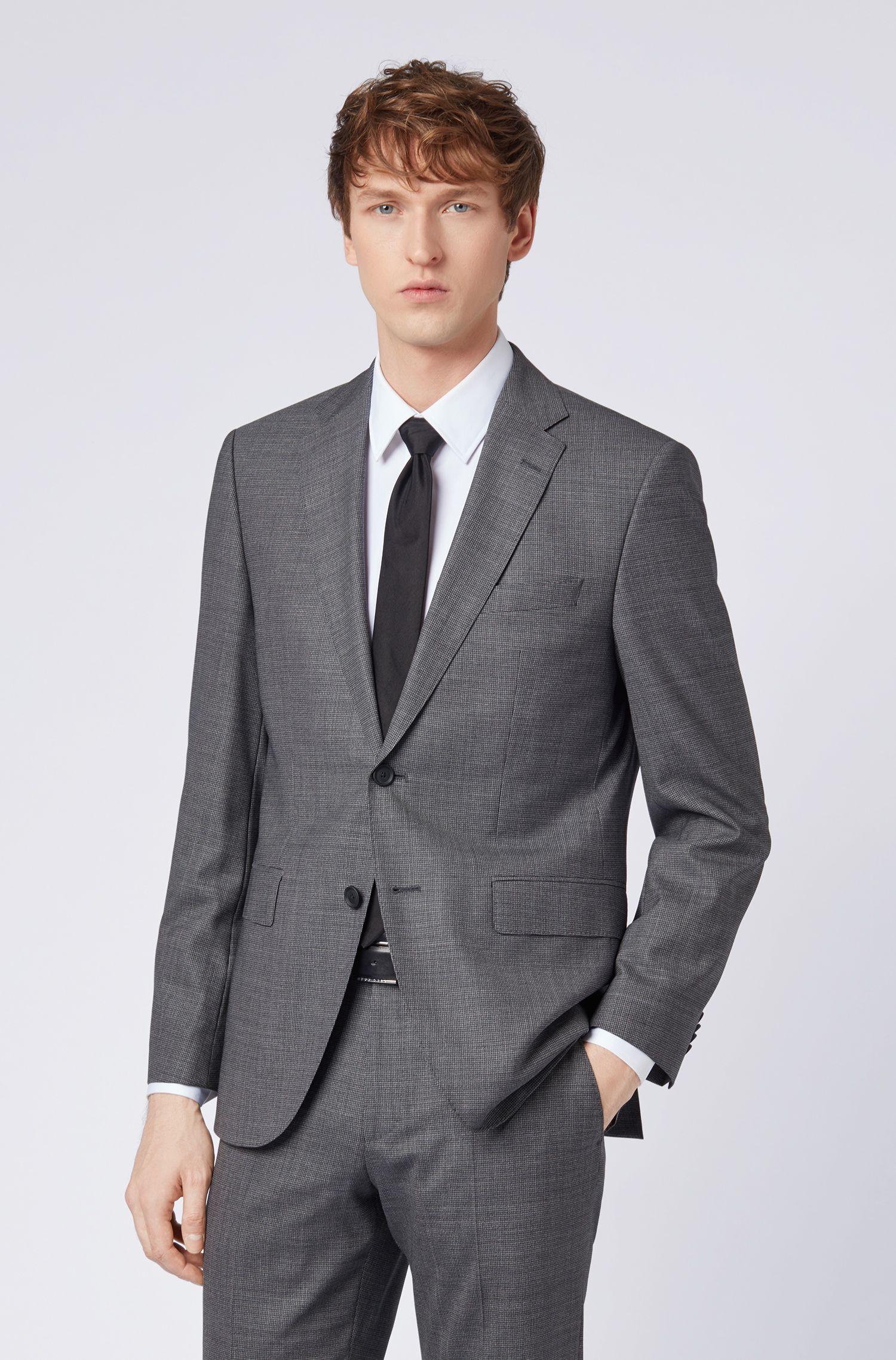 Dezent gemusterter Regular-Fit Anzug aus Schurwolle, Grau