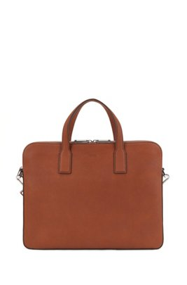 Zipped document case in Italian leather with contrast stitching, Light Brown