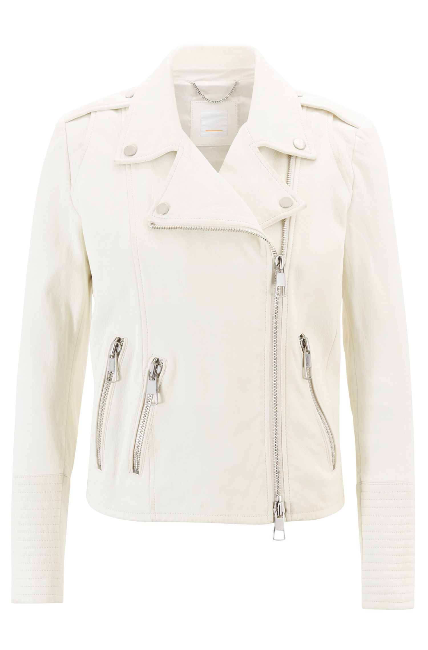 Leather biker jacket with chunky zips, Natural