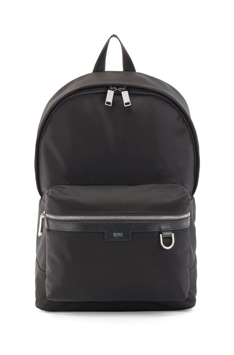 Lightweight backpack in nylon gabardine with leather trim, Black