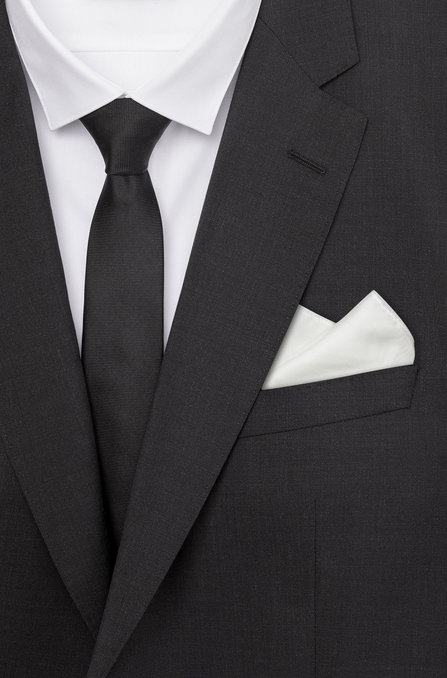 Pocket square in pure silk with face motifs, White