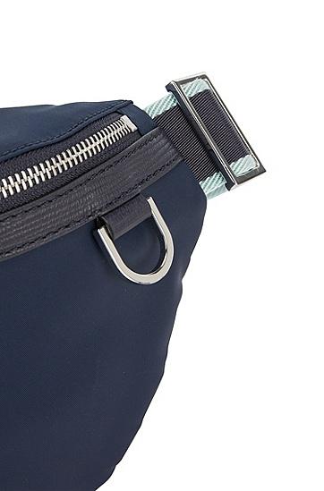印花意大利皮革饰边腰包,  410_Navy