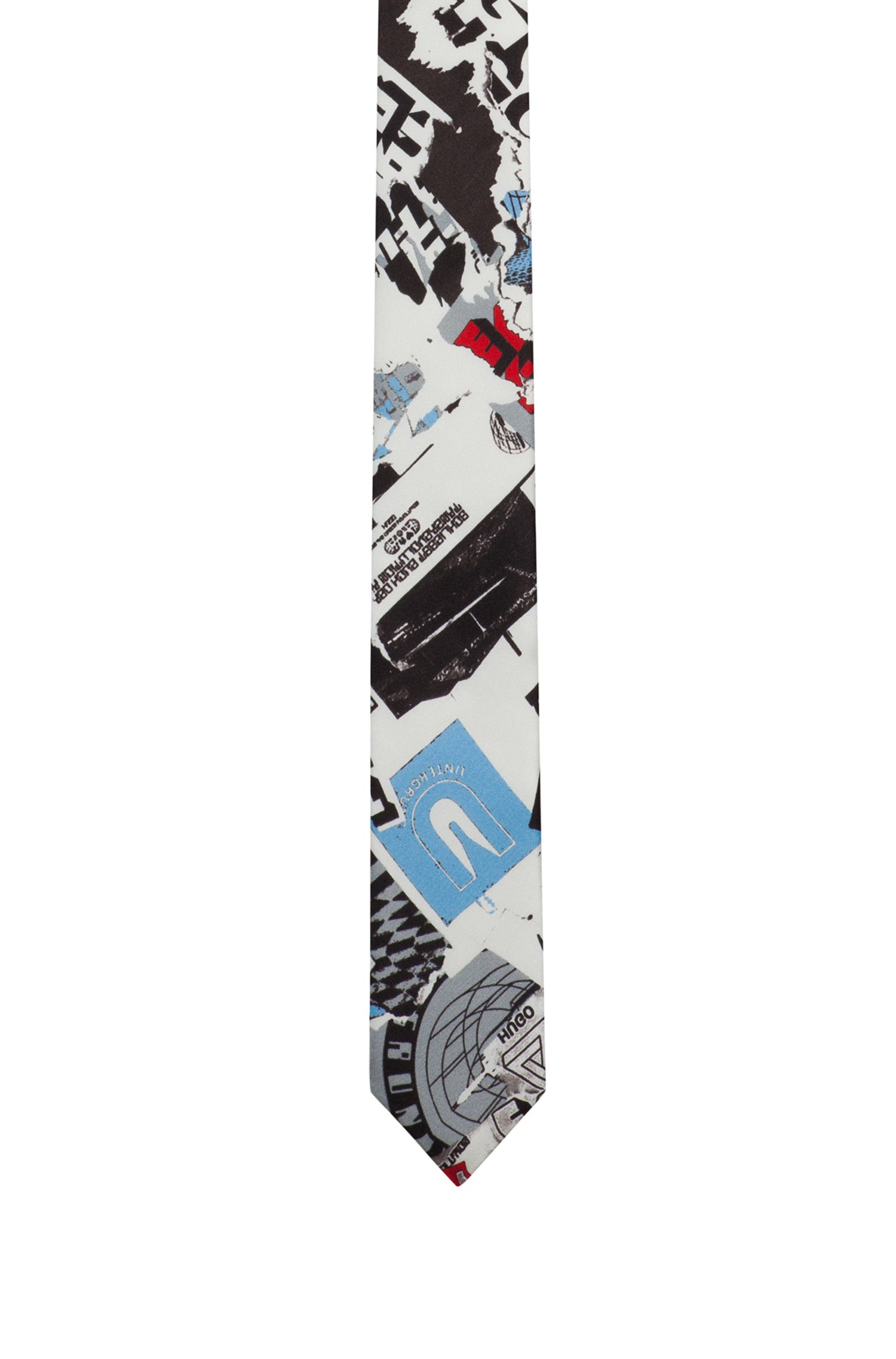 Graphic-print tie in pure silk twill, Patterned