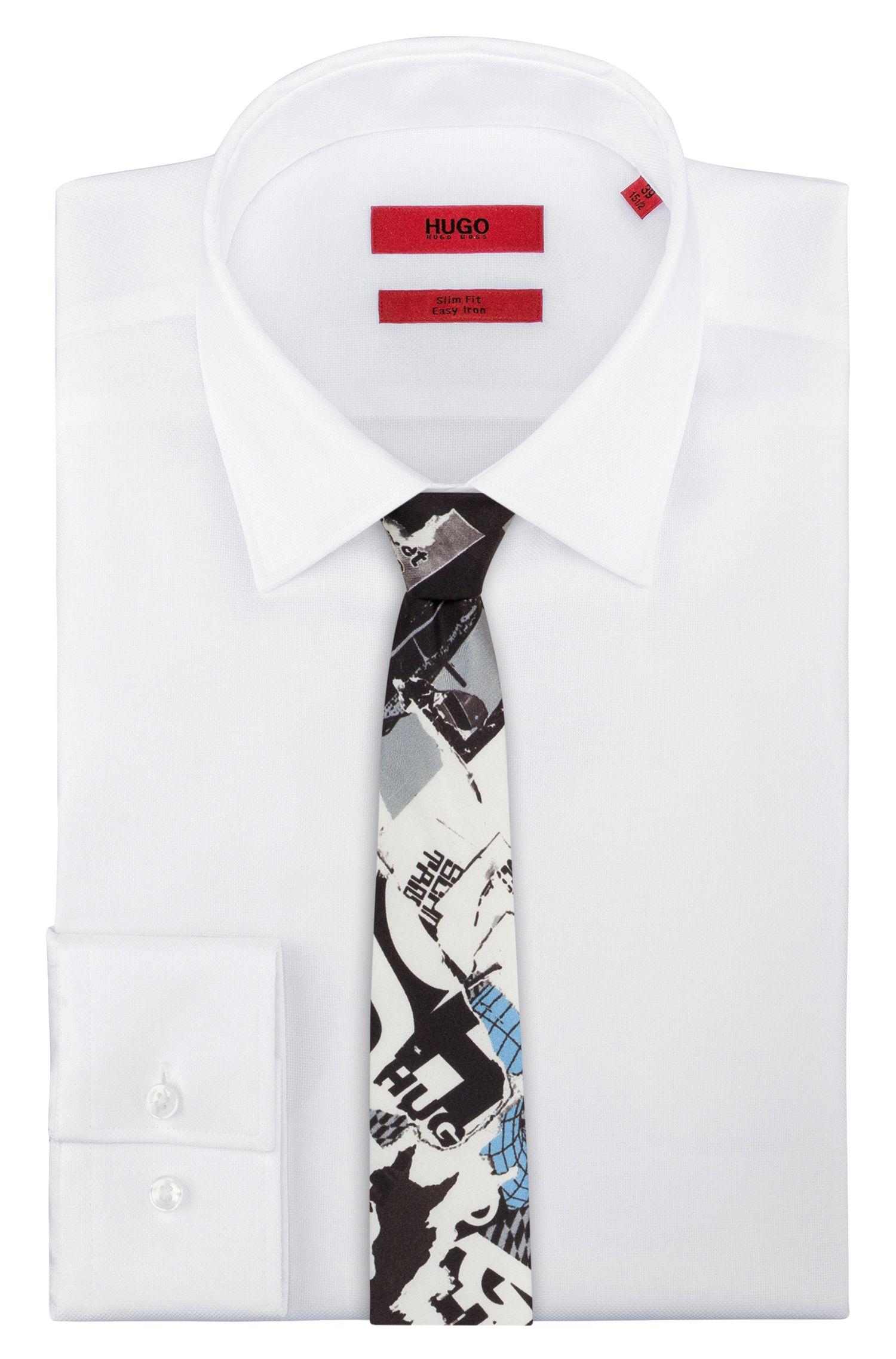 Corbata con estampado gráfico en sarga de seda pura, Fantasía