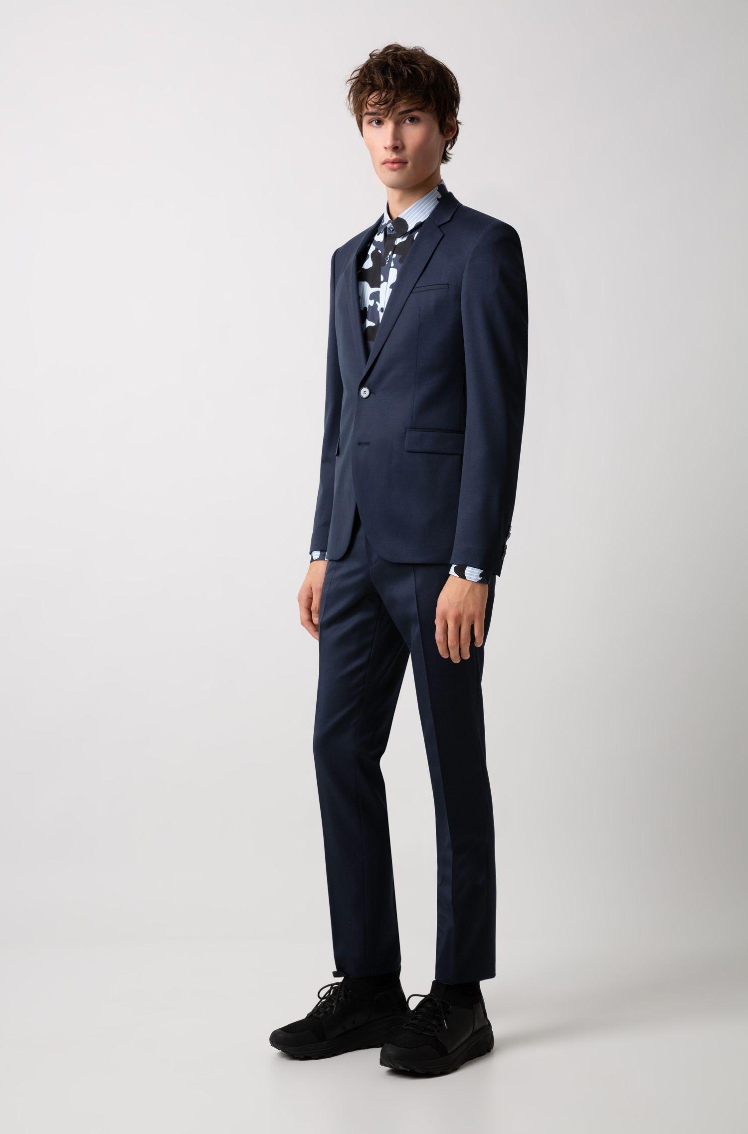 Extra-slim-fit suit in pigment-dyed virgin wool, Dark Blue