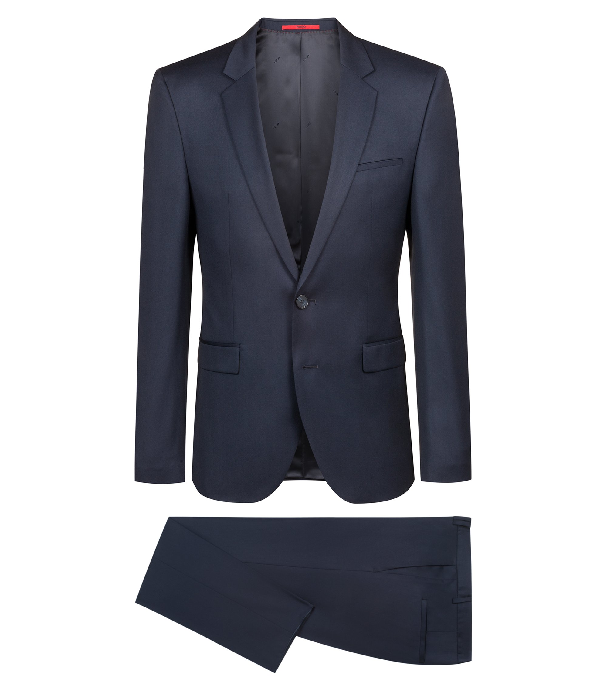 Extra slim-fit kostuum van pigment-dyed scheerwol, Donkerblauw