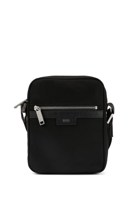 9f6b5350a082 BOSS - Cross-body bag in nylon gabardine with leather trim