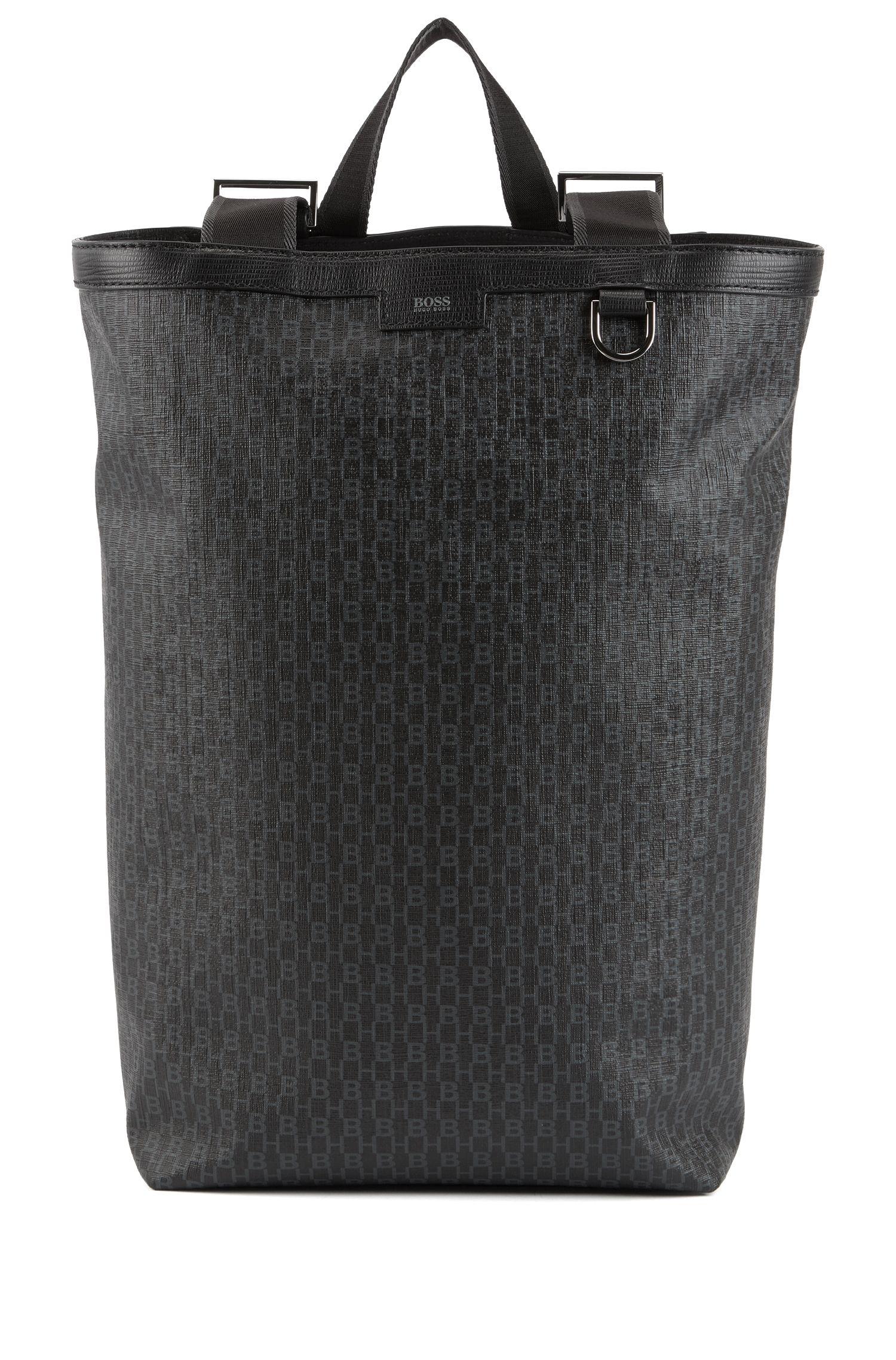 Veelzijdige rugzak van gecoat Italiaans materiaal met monogramprint, Zwart