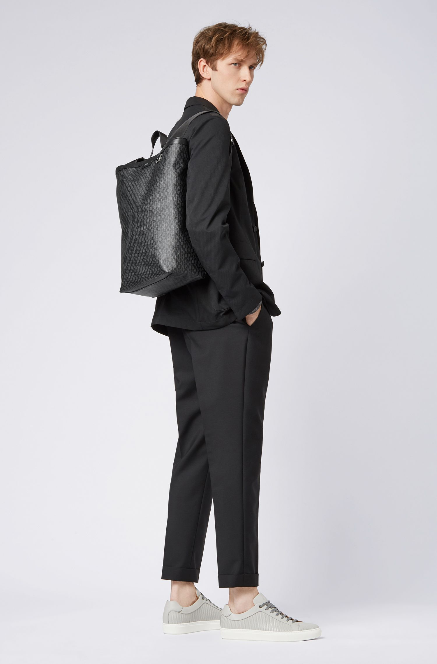 Convertible backpack in monogram-printed coated Italian fabric, Black