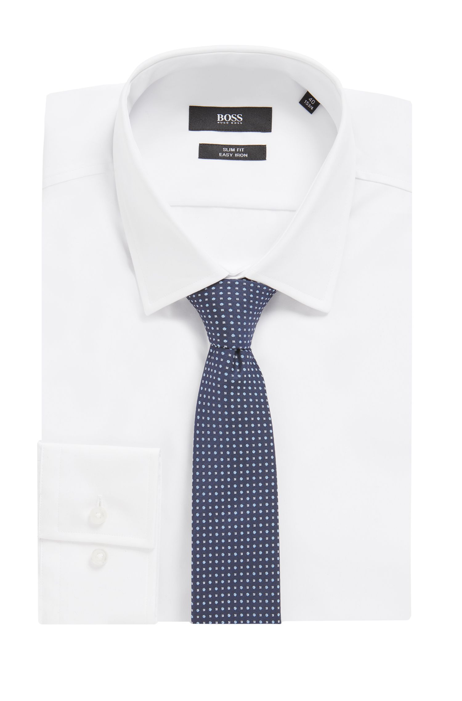 Micro-pattern tie in water-repellent silk, Open Blue