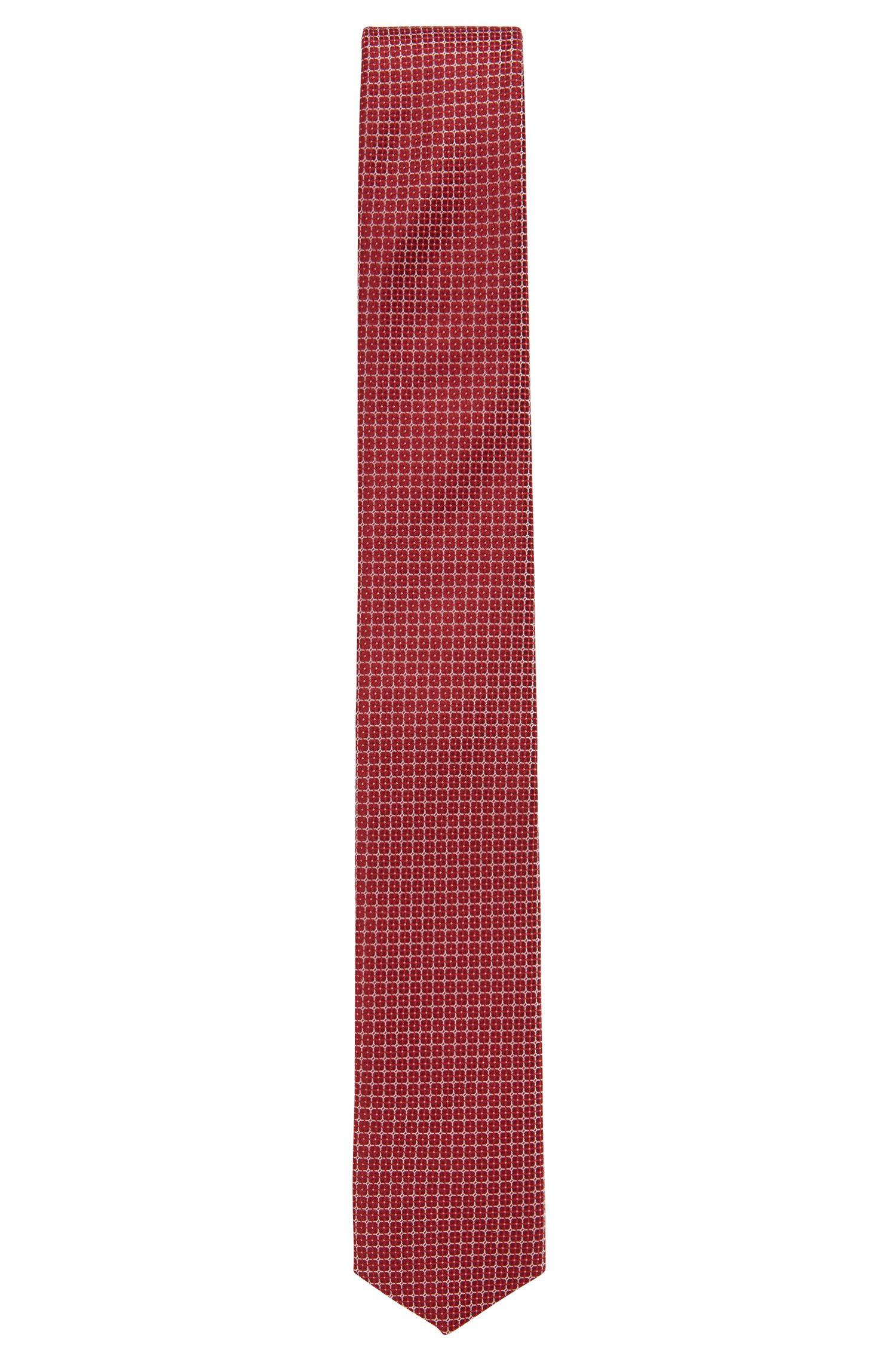 Cravate à micromotif en soie imperméable, Rouge