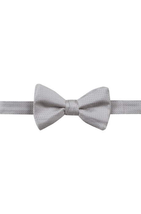 Micro-pattern bow tie in silk jacquard, Grey