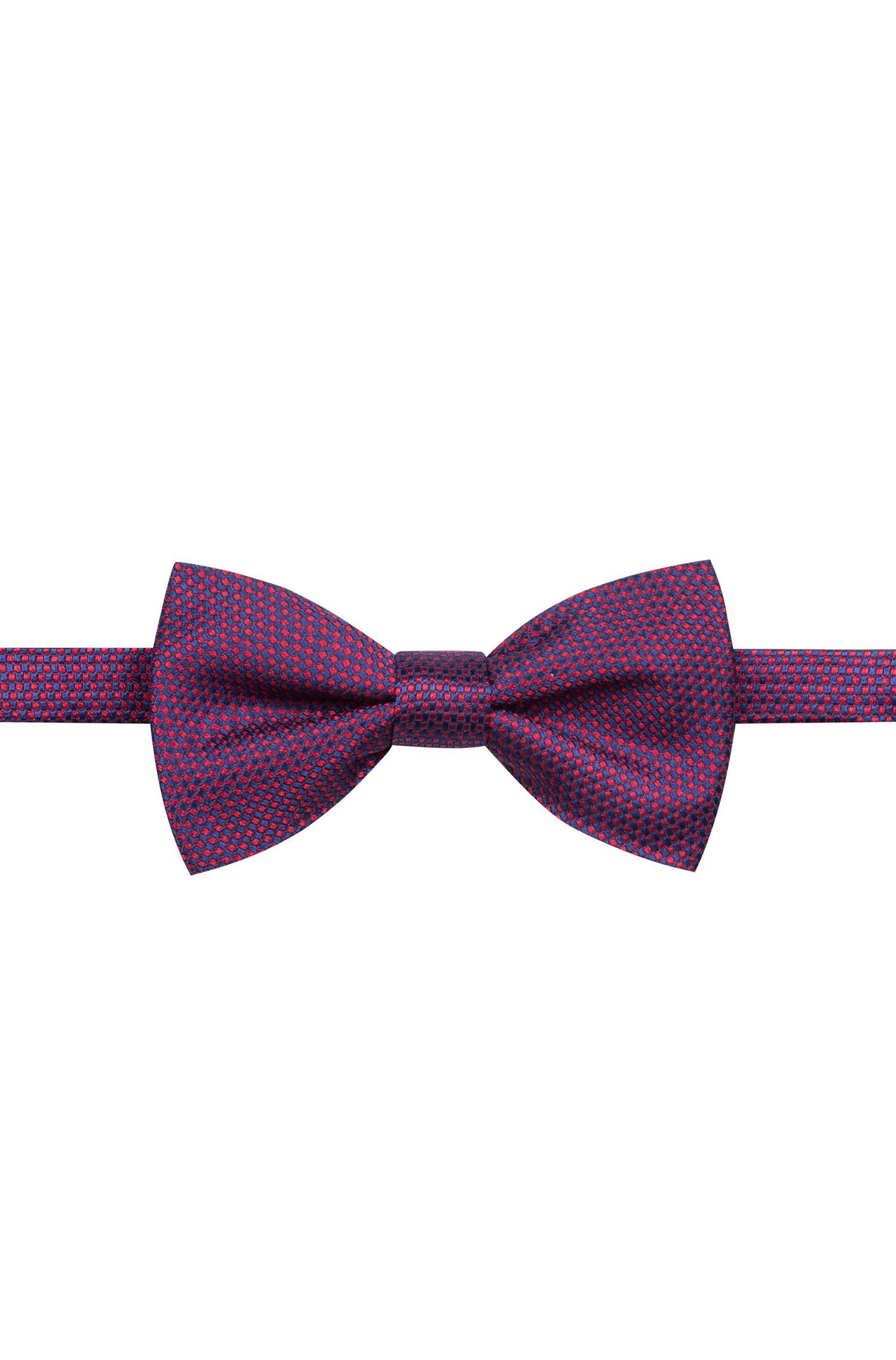Micro-patterned bow tie in bi-coloured silk jacquard, Patterned