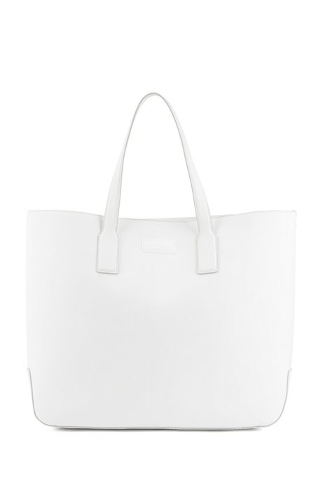 Double-handle tote bag in rubberised Italian leather, White