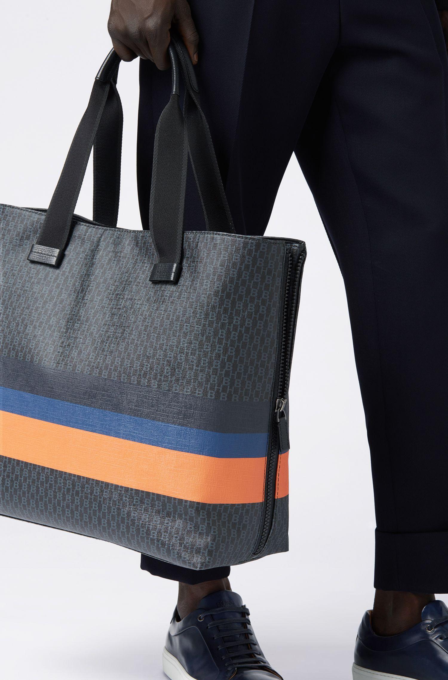 Tote Bag mit Monogramm-Print und Blockstreifen, Schwarz