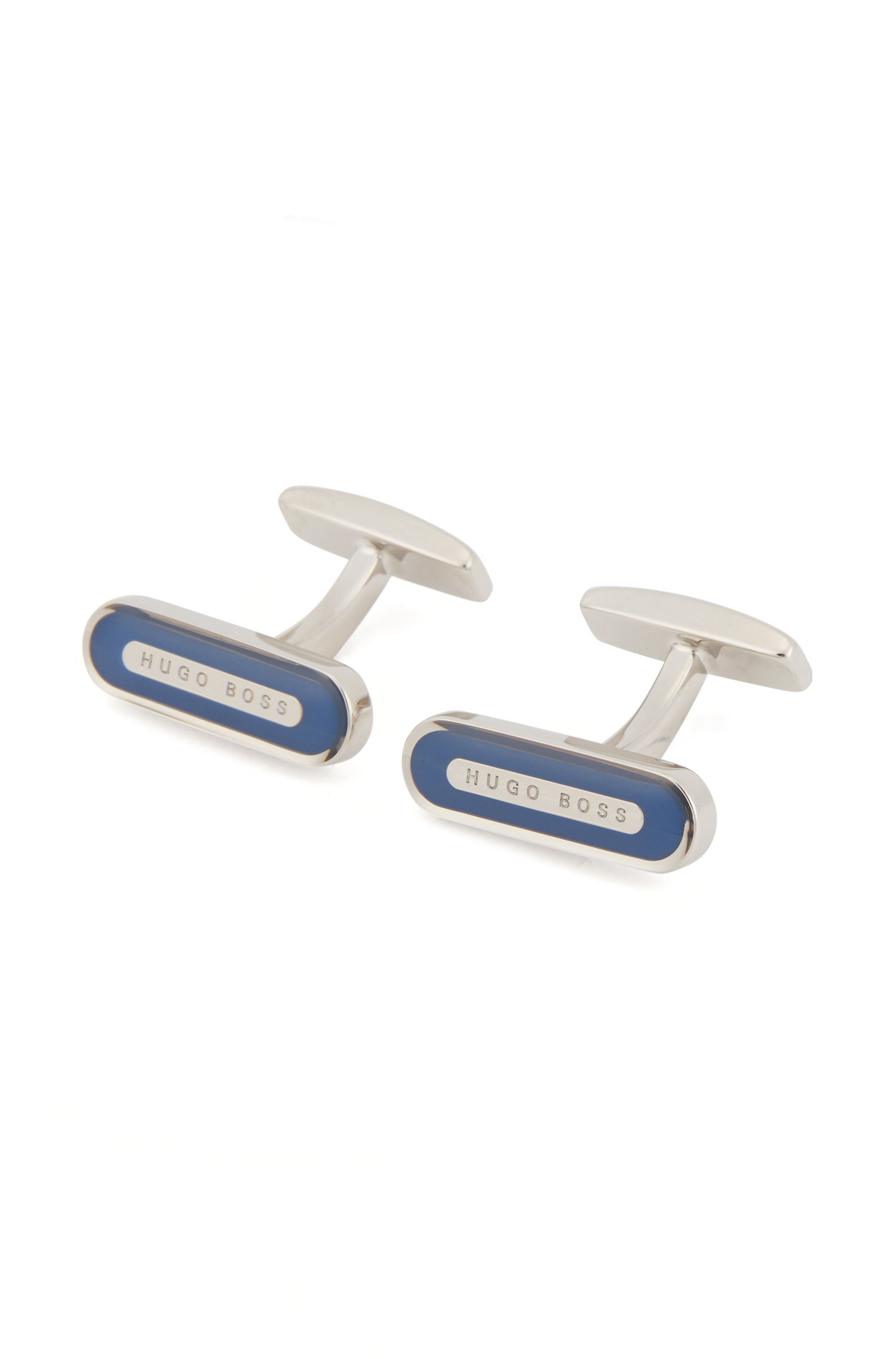 Längliche Manschettenknöpfe aus Messing mit Emaille-Detail, Blau