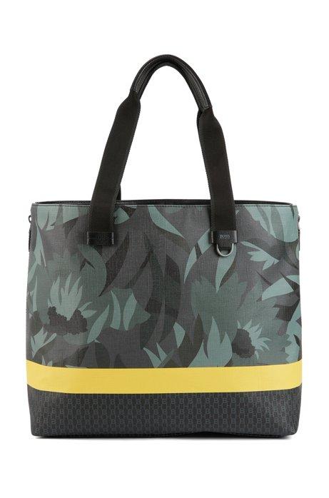 Tote Bag aus italienischem Gewebe mit Blumen- und Streifen-Dessin, Gemustert