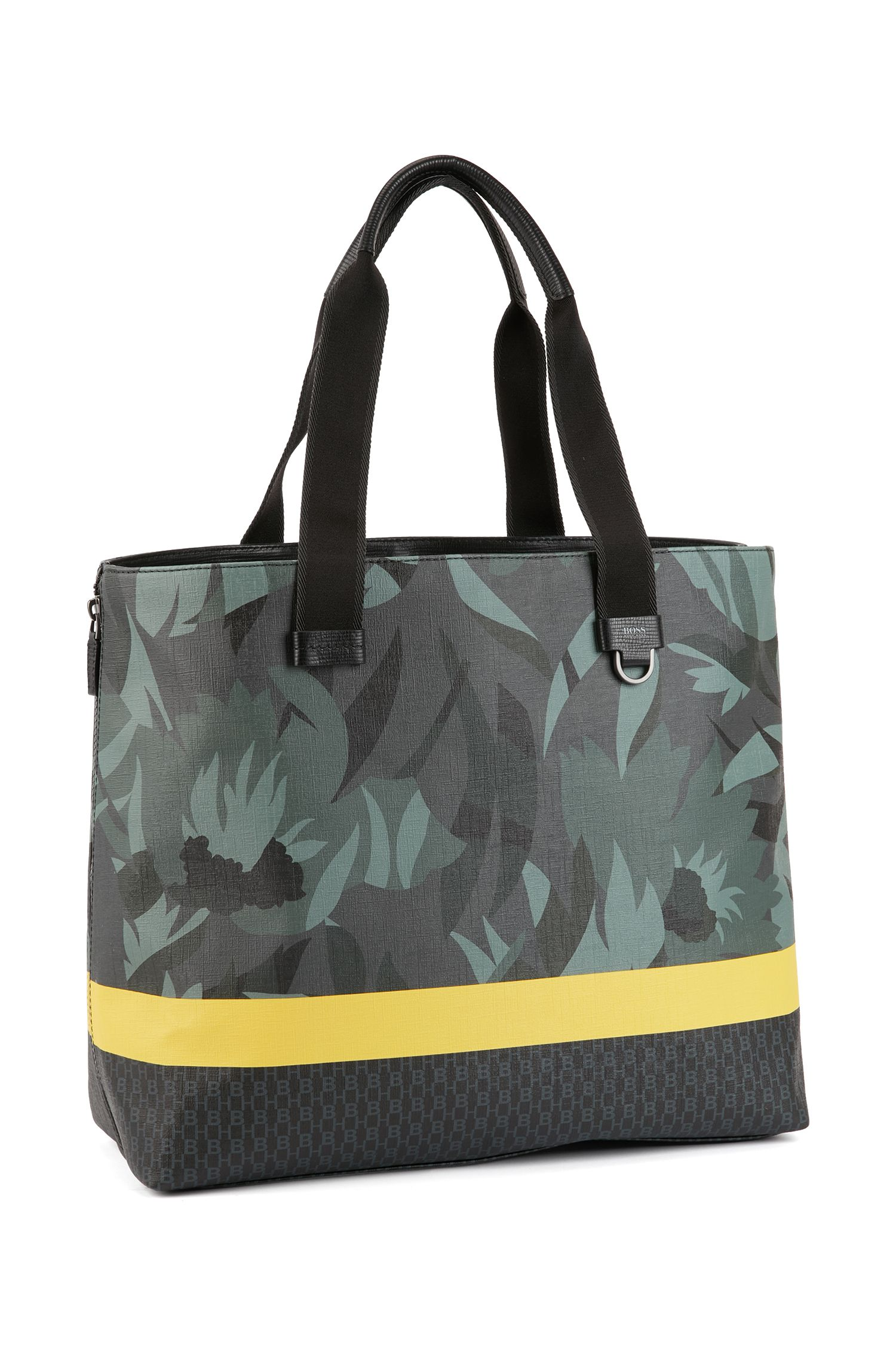 Tote bag in floral-printed Italian fabric with stripe, Patterned