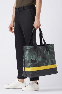0a2cdae35f7d7 BOSS - Tote Bag aus italienischem Gewebe mit Blumen- und Streifen-Dessin