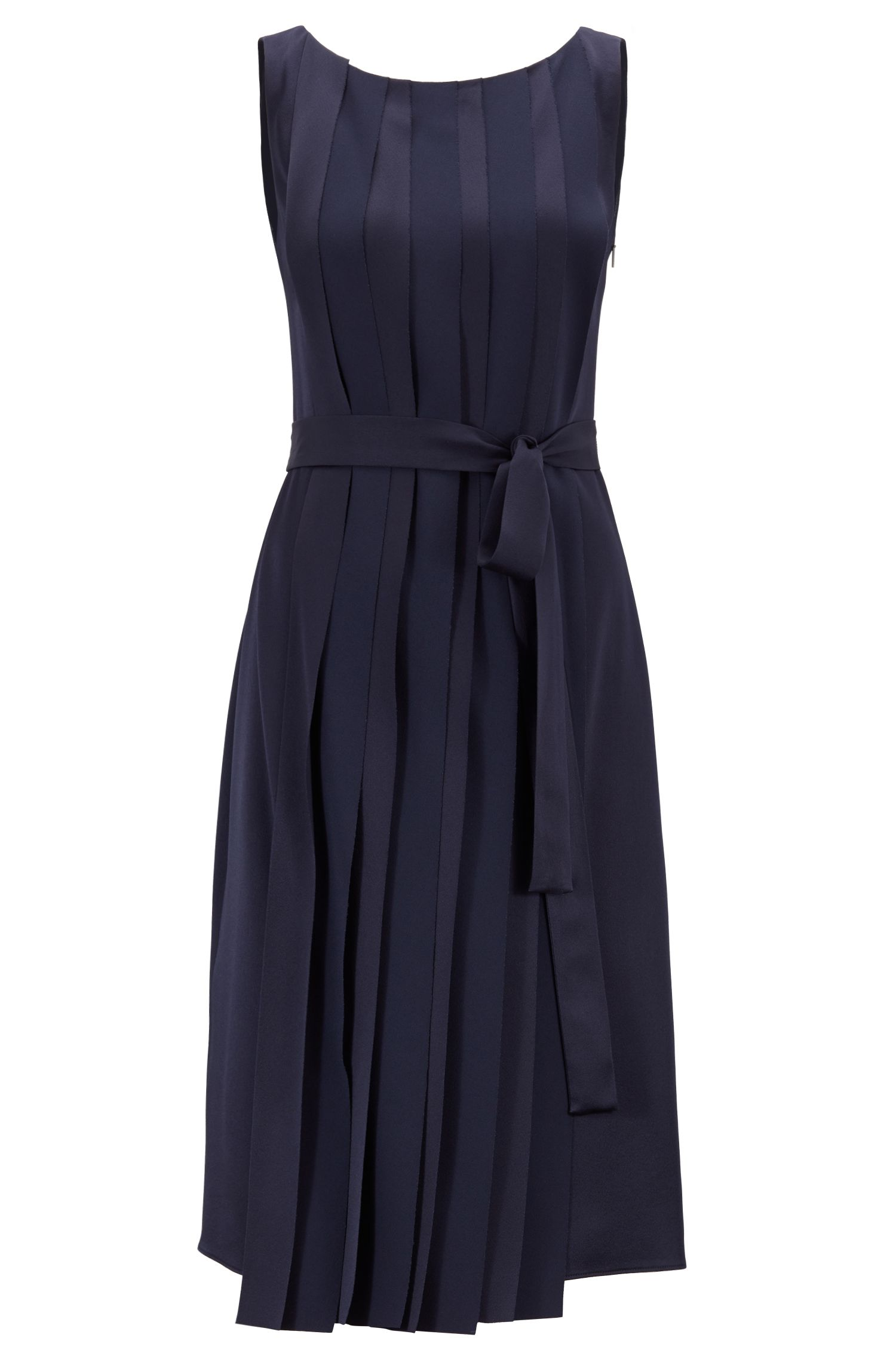 Sleeveless dress in Italian fabric with pleated front, Dark Blue