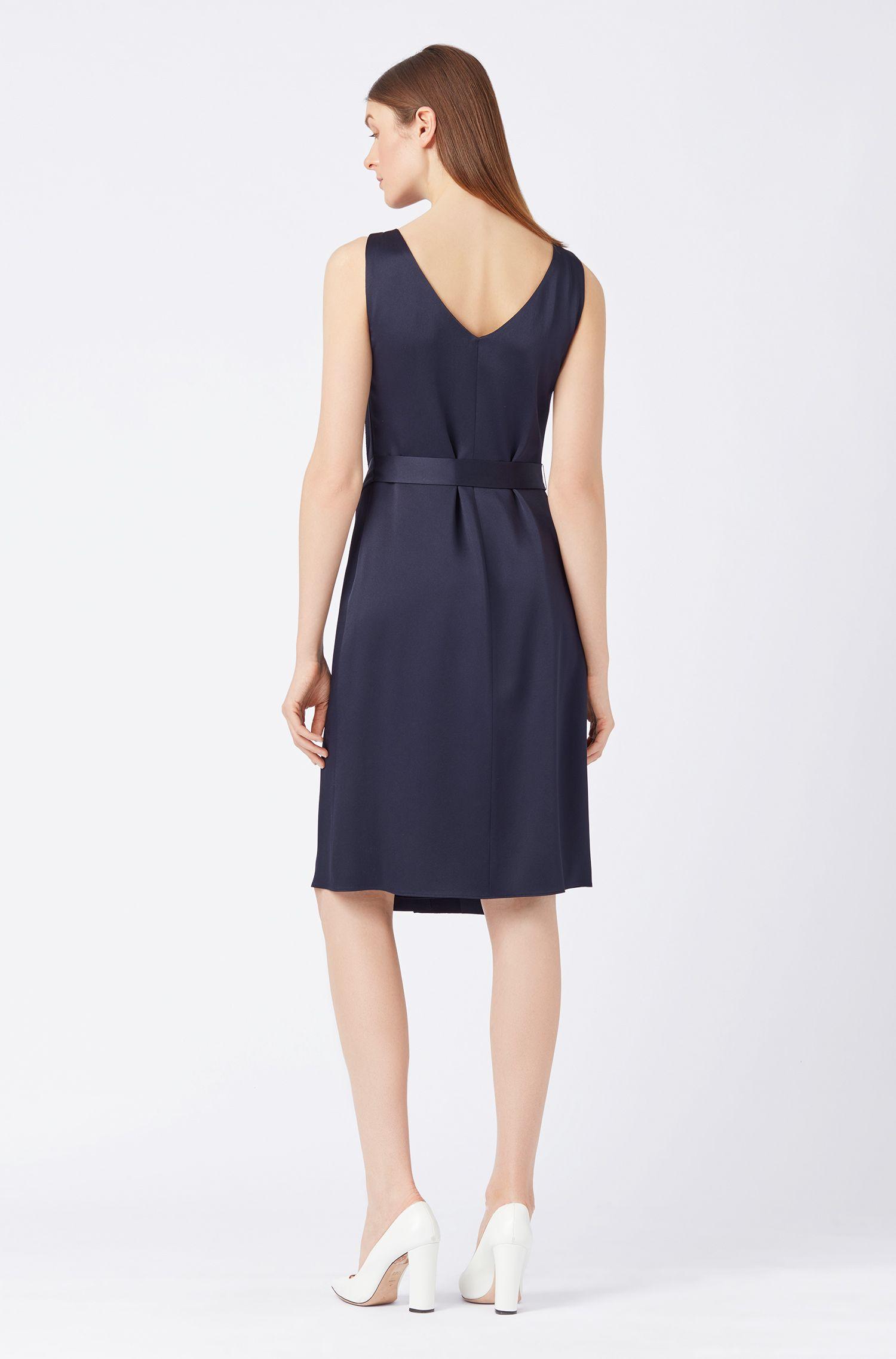 Ärmelloses Kleid aus italienischem Gewebe mit Zierfalten, Dunkelblau