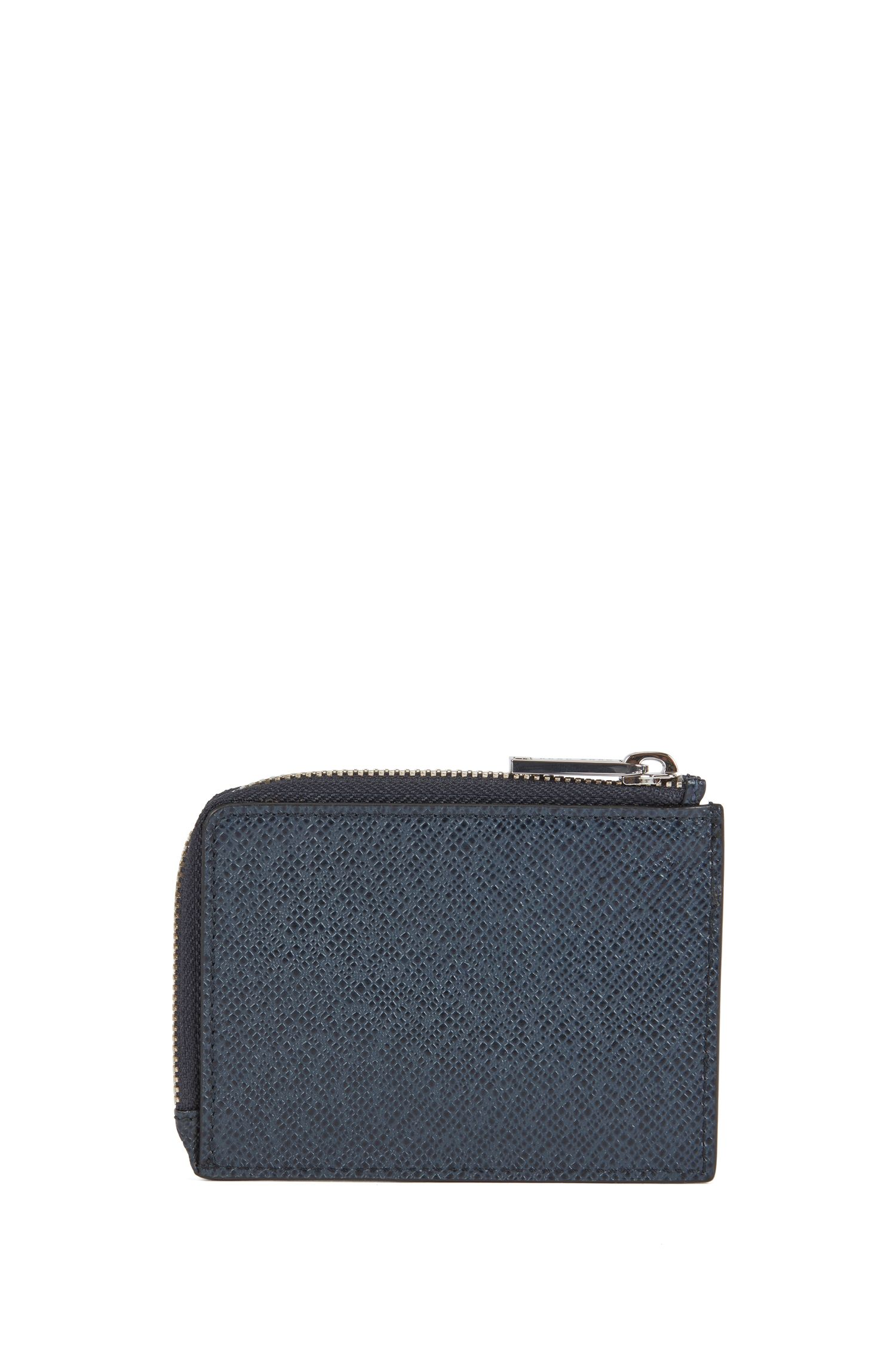 Signature Collection coin case in embossed palmellato leather, Dark Blue