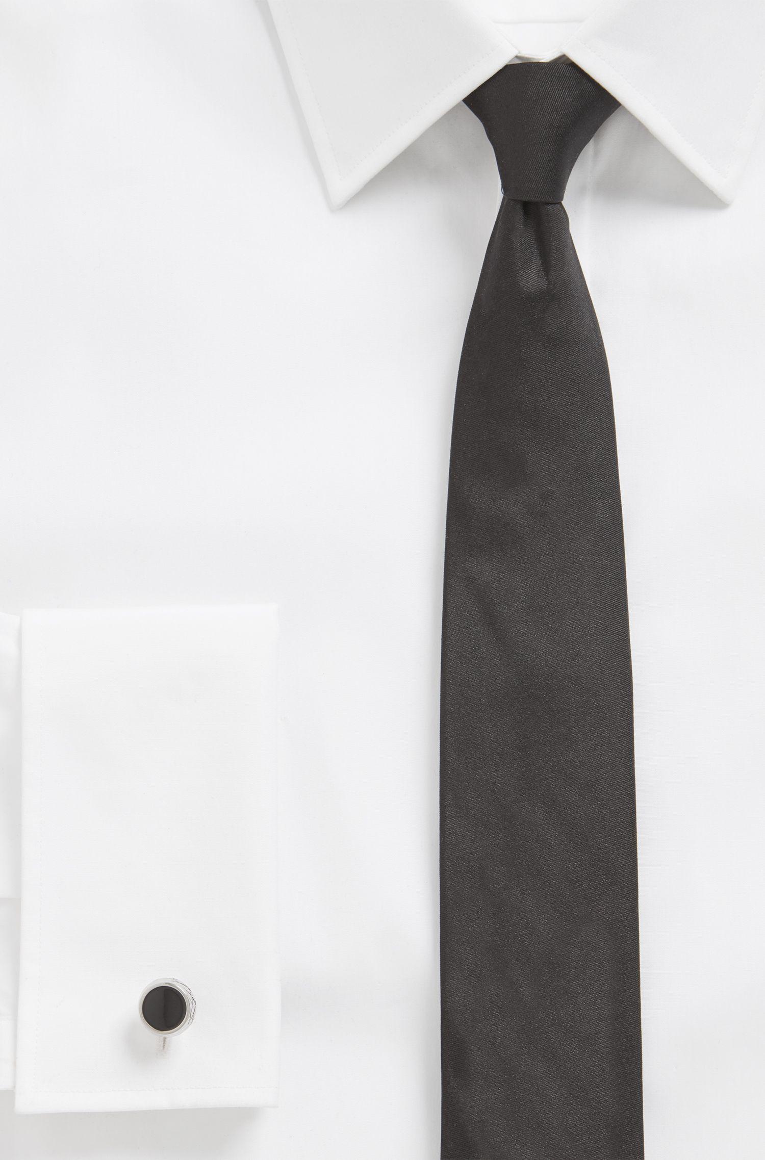 Runde, geätzte Manschettenknöpfe aus Messing mit Emaille-Einsatz, Schwarz