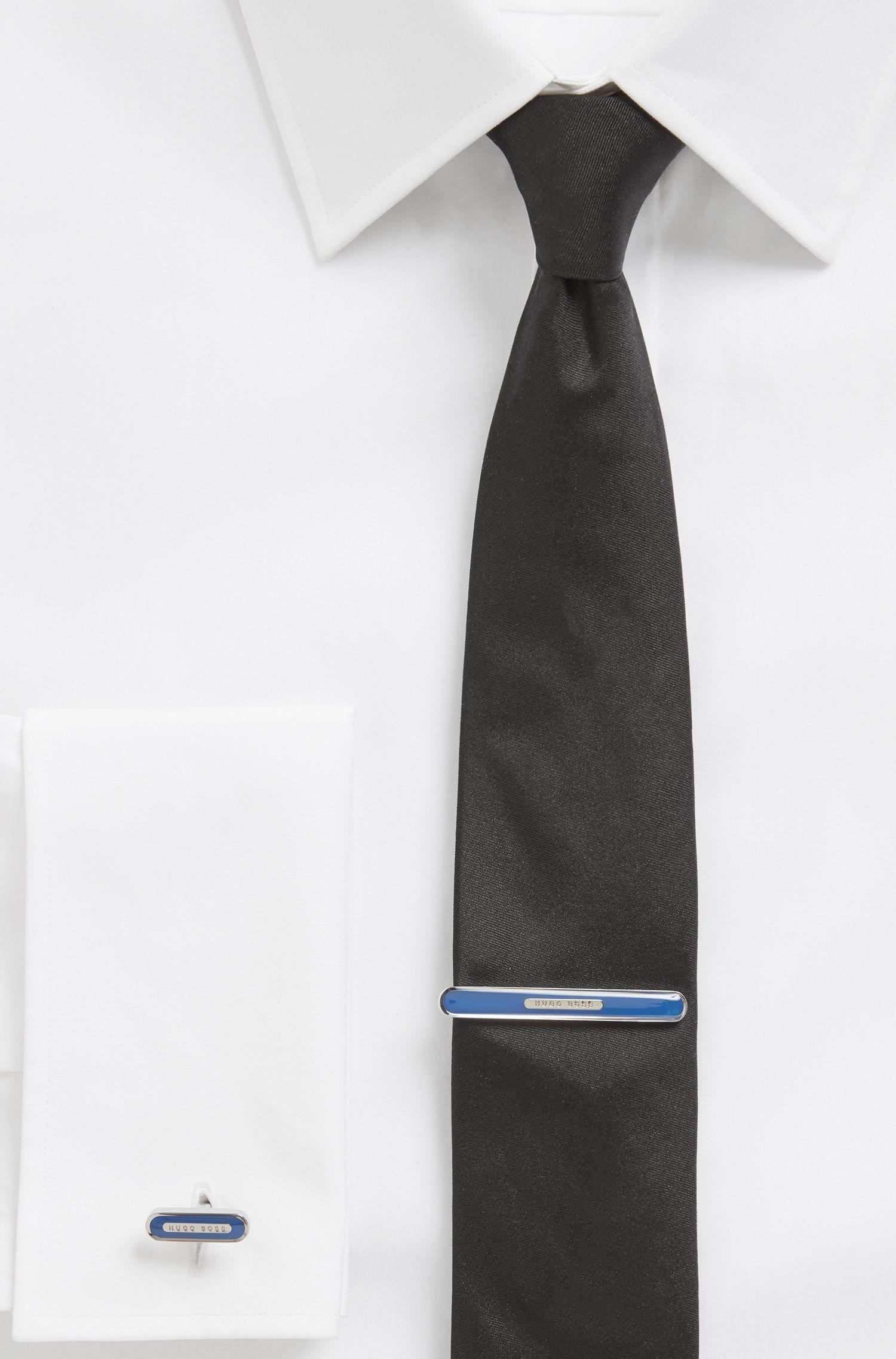 Enamel tie clip with logo plate, Blue