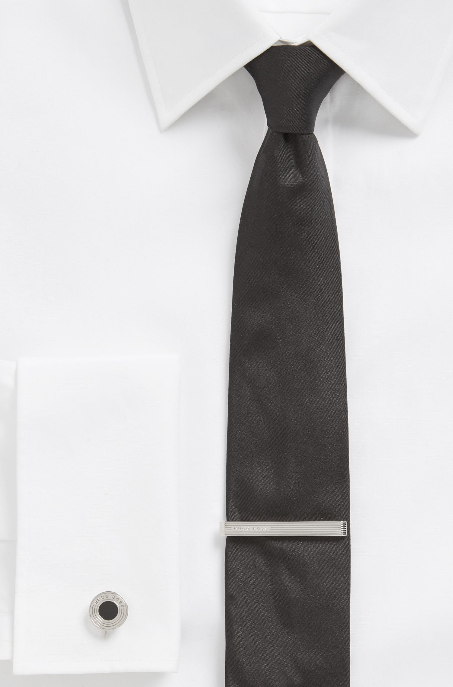 Pince à cravate en laiton ornée de lignes horizontales gravées et d'un logo, Argent