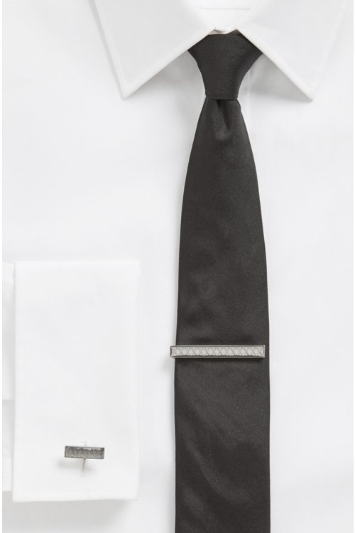Hugo Boss - Alfiler de corbata en latón pulido con diseño en zigzag grabado - 2