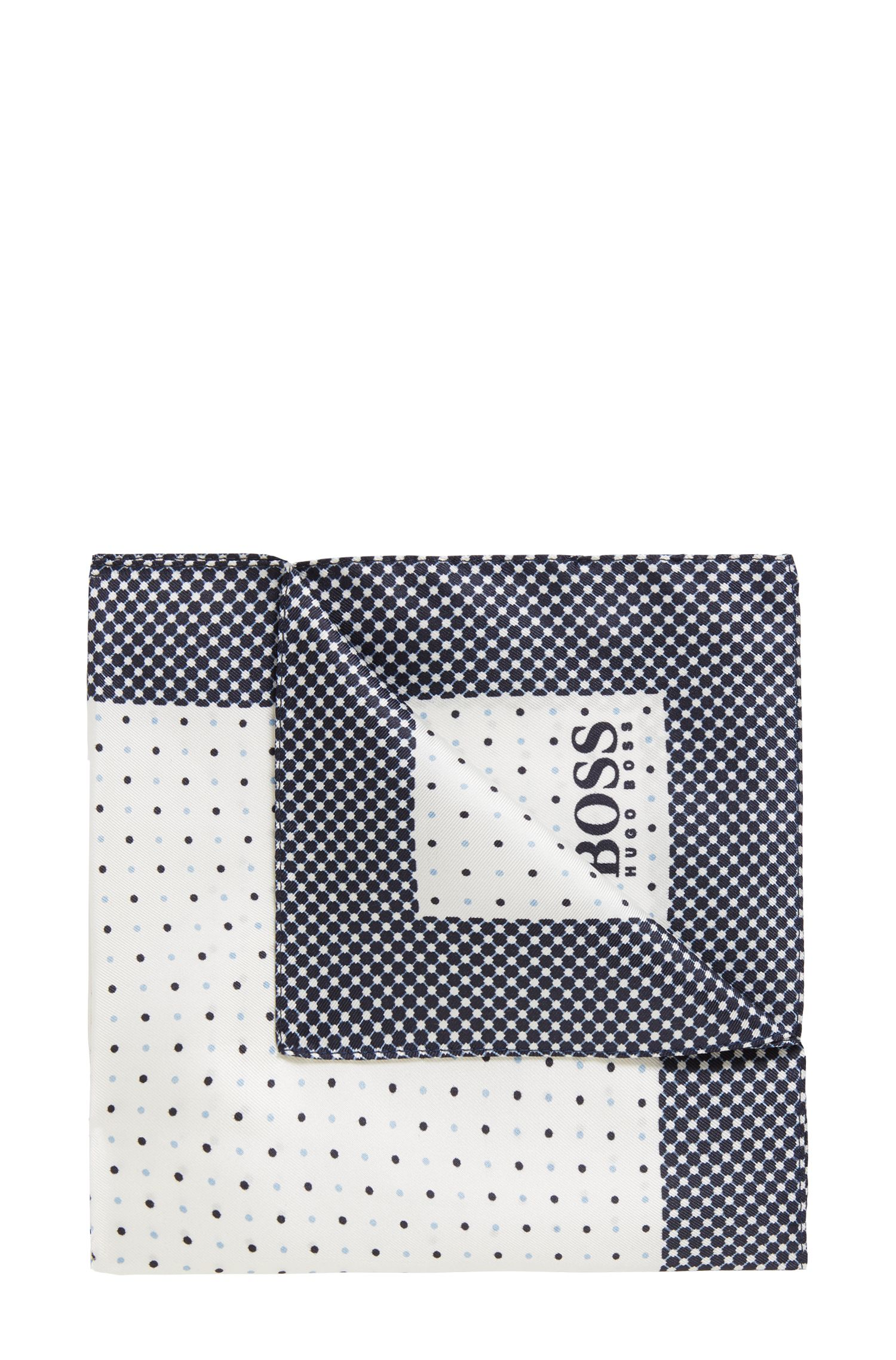 Travel Line pocket square in water-repellent silk, White