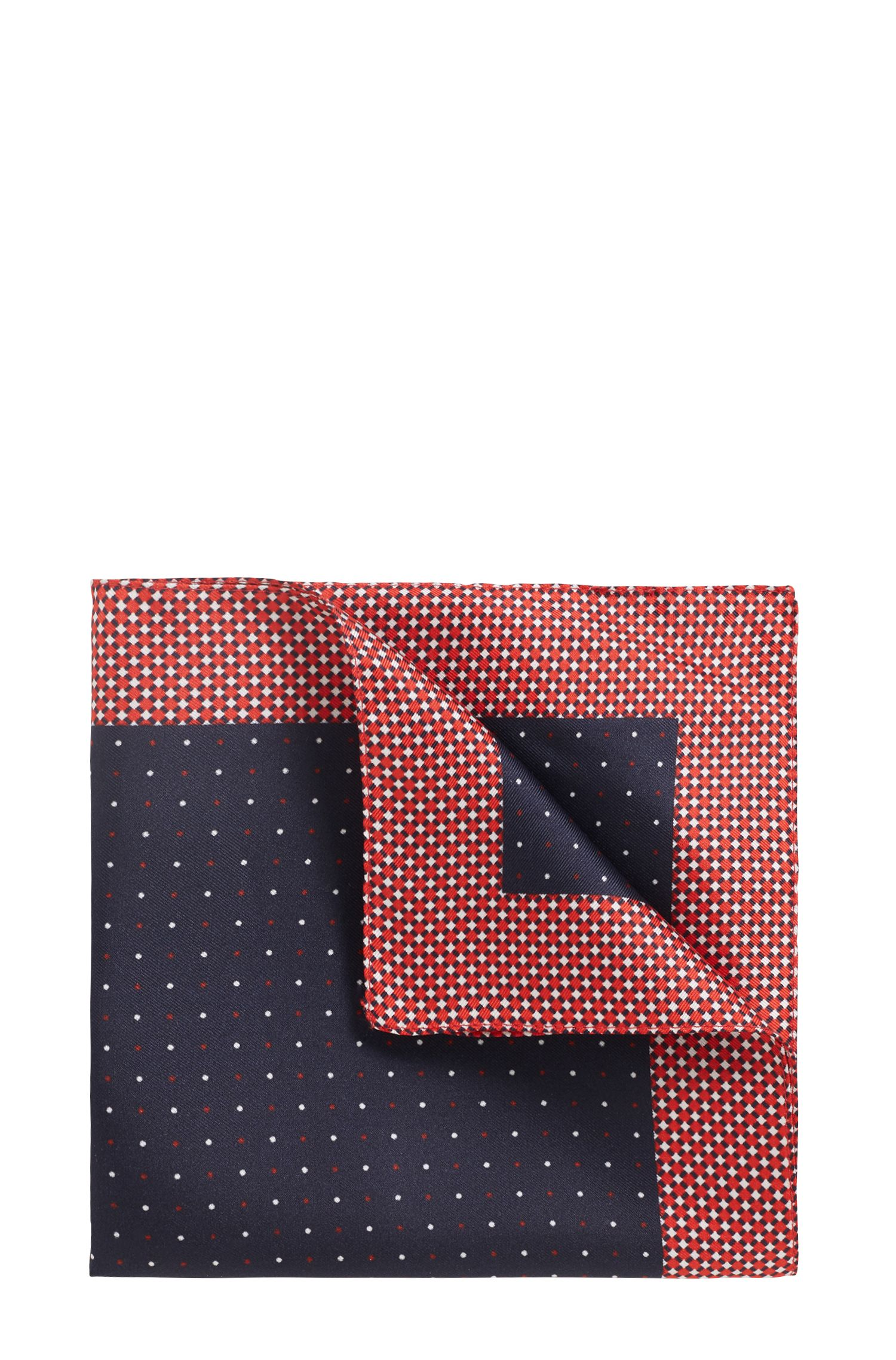 Travel Line pocket square in water-repellent silk, Red