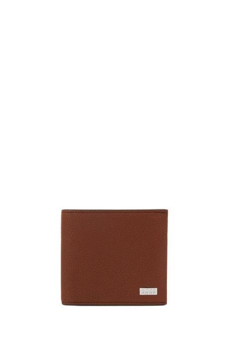 Klapp-Geldbörse aus genarbtem Leder mit acht Kartenfächern, Hellbraun