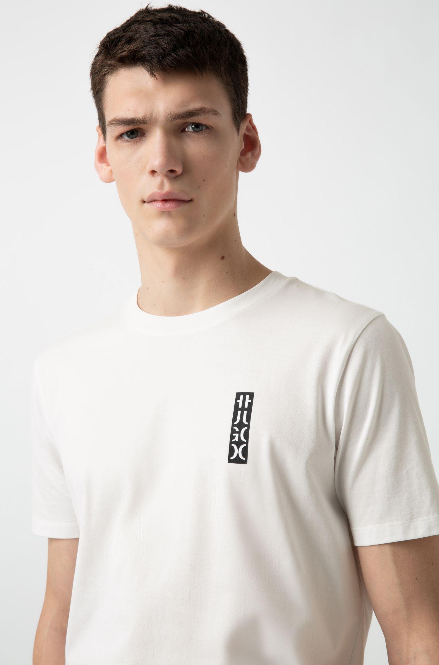 T-shirt à col ras-du-cou en coton, à logo HUGO partiel, Blanc