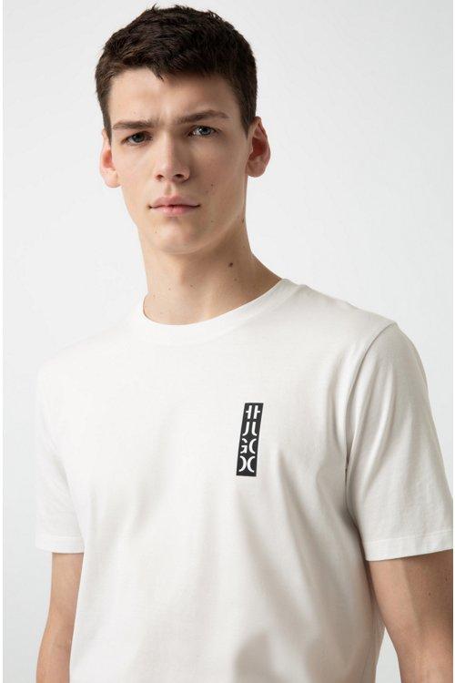 Hugo Boss - Camiseta de cuello redondo en algodón con logo de HUGO cortado - 3