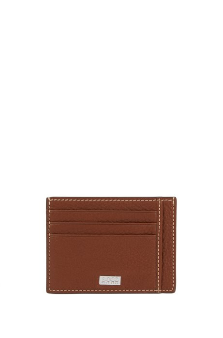 Card holder in Italian leather with contrast stitching, Light Brown