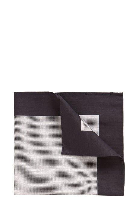 Carré de poche en coton et soie à micromotif, Blanc