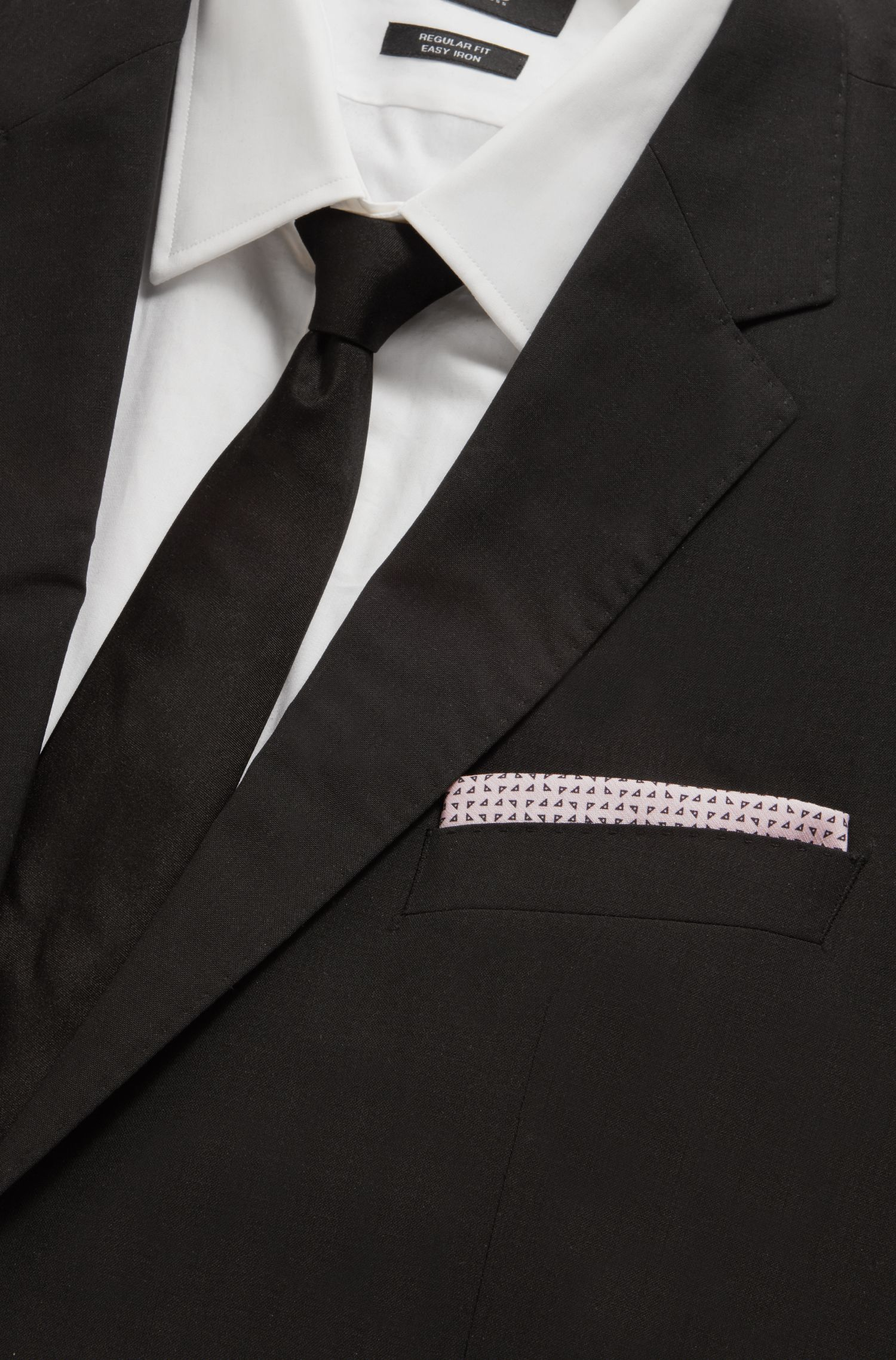 Pocket square in micro-patterned cotton and silk, light pink