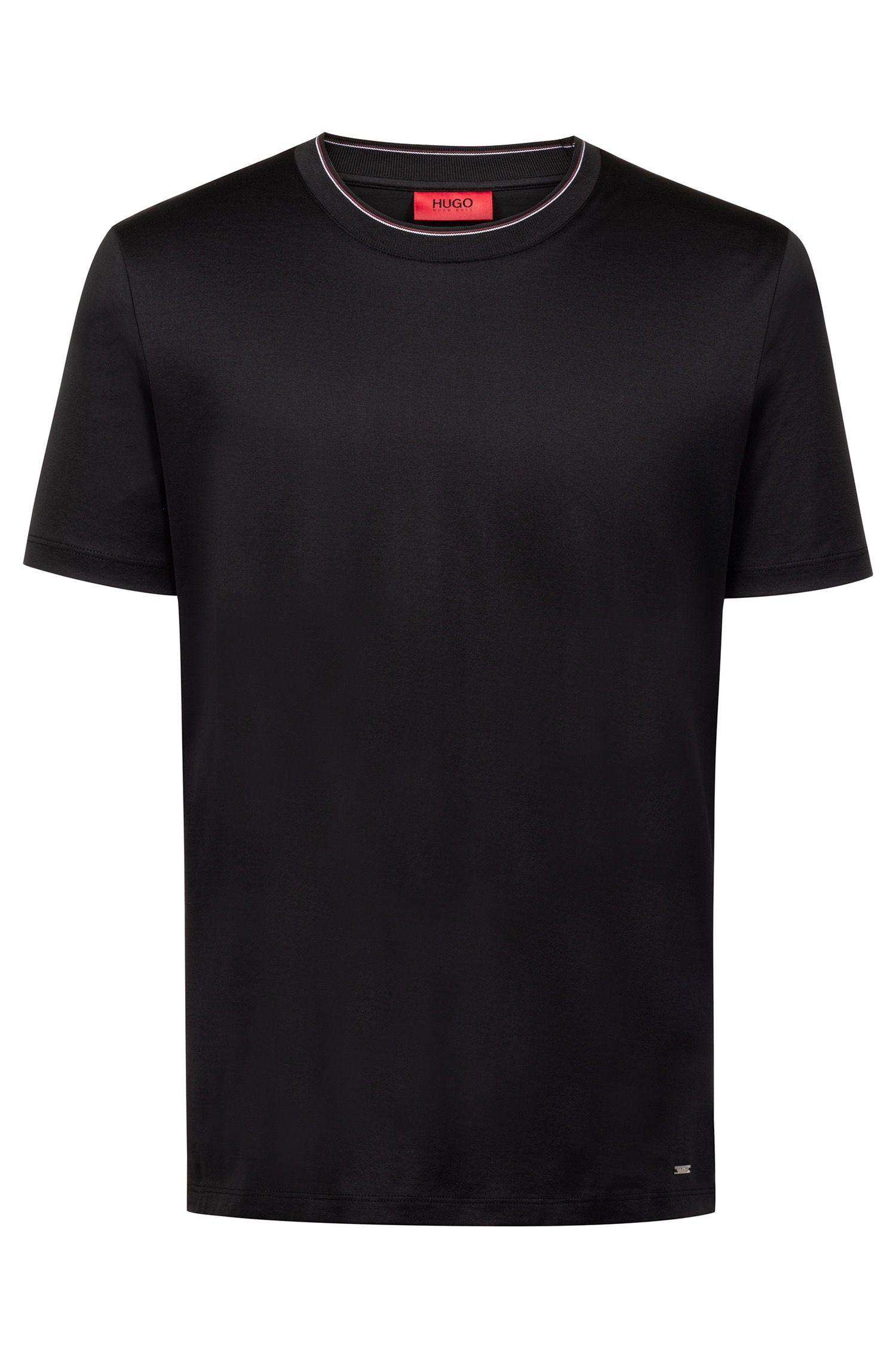 Regular-fit T-shirt van gemerceriseerde katoen met gestreepte halslijn, Zwart