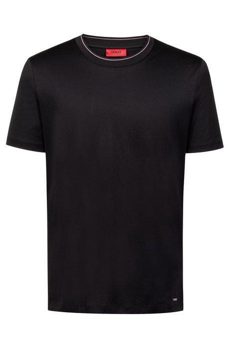 T-Shirt aus merzerisierter Baumwolle mit Streifen am Kragen, Schwarz