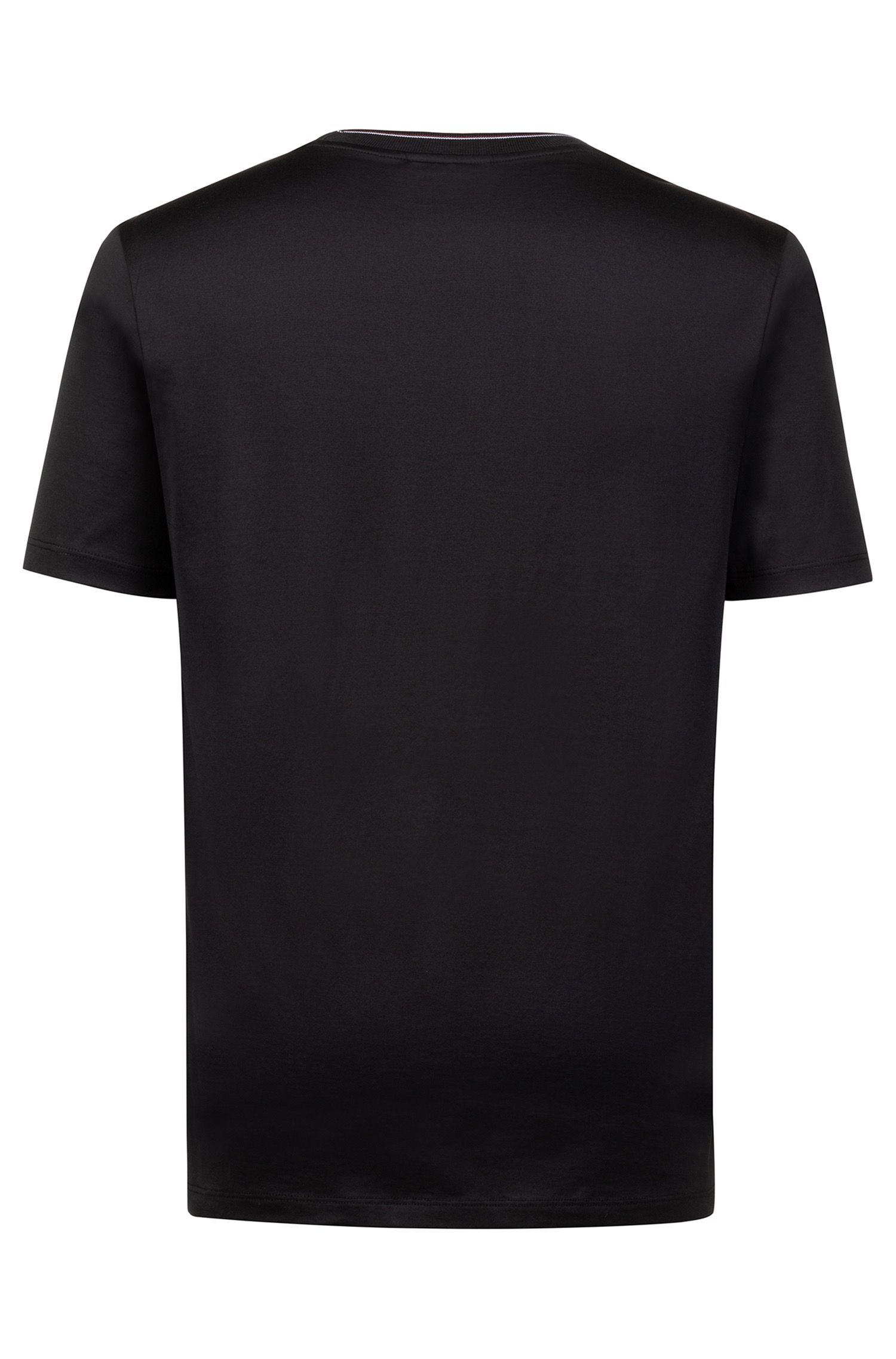 Regular-fit T-shirt in mercerised cotton with striped neckline, Black