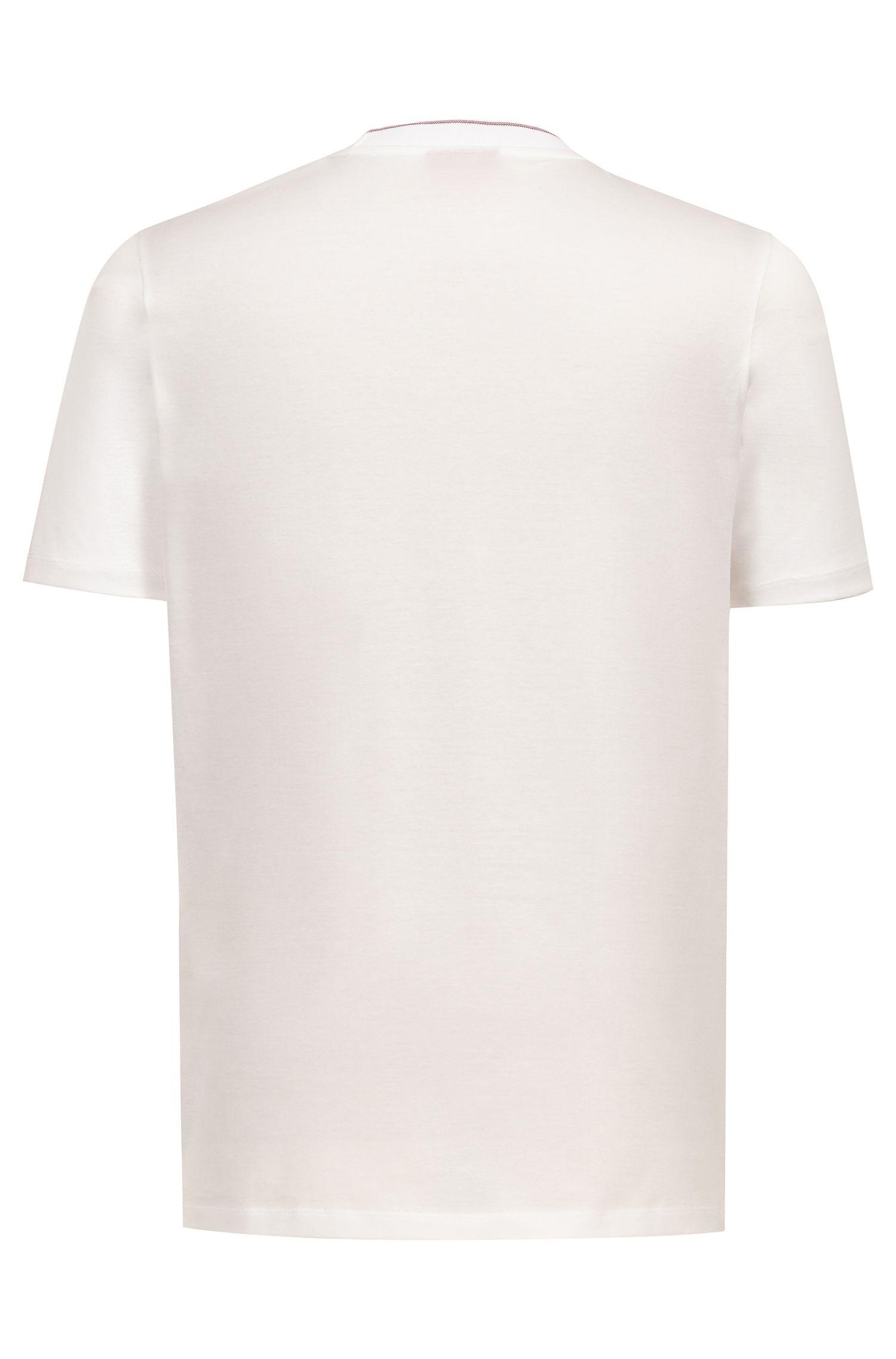 Camiseta regular fit en algodón mercerizado con cuello a rayas, Blanco