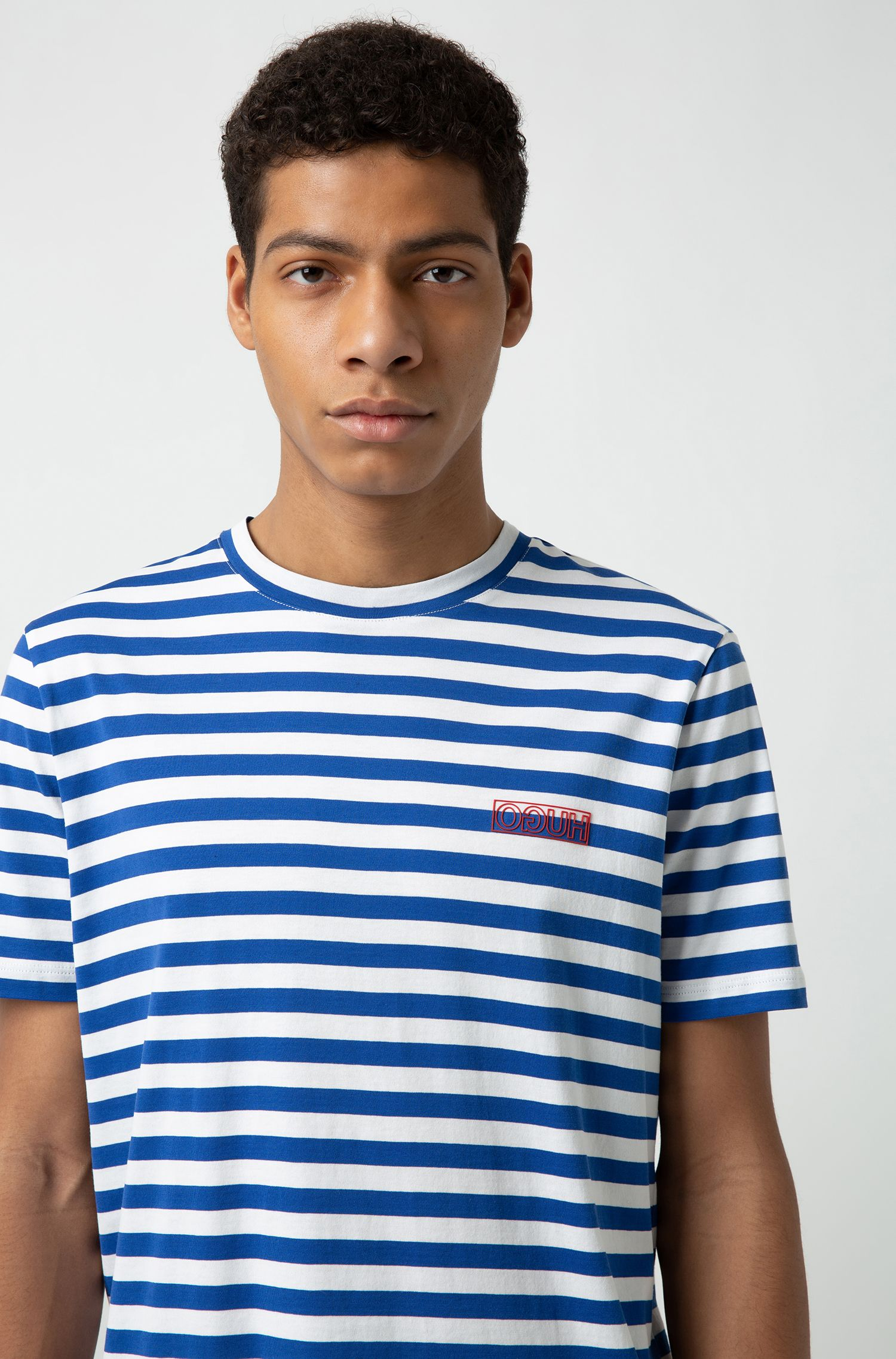 Striped T-shirt in single-jersey cotton with reverse logo, Patterned